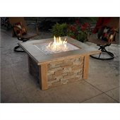 Sierra Firepit Table with Ledgestone and Supercast Top in Mocha