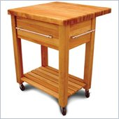 Catskill Craftsmen Baby Grand Butcher Block Kitchen Cart in Natural Finish