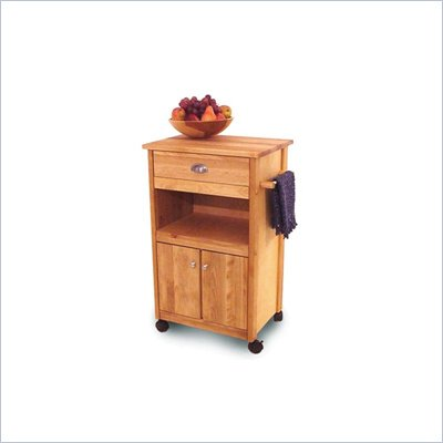 Catskill Craftsmen Birch Hardwood Cuisine Butcher Block Kitchen Cart in Natural Finish
