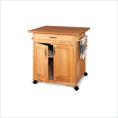 Catskill Craftsmen Big Island Butcher Block Kitchen Cart in Natural Finish