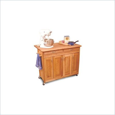 Catskill Craftsmen Super Island Natural Butcher Block Kitchen Cart with Breakfast Bar