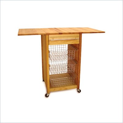 Catskill Craftsmen Basket Butcher Block Kitchen Cart with 2 Drop Leaves in Natural Finish