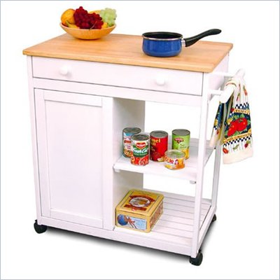 Catskill Craftsmen Preston Hollow White Kitchen Cart with Butcher Block