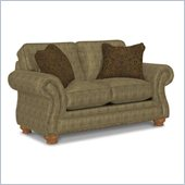 Broyhill Laramie Olive Loveseat with Attic Heirlooms Wood Stain