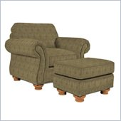 Broyhill Laramie Olive Chair and Ottoman Set with Attic Heirlooms Wood Stain