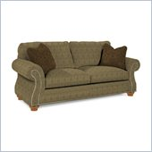 Broyhill Laramie Olive Queen Goodnight Sleeper Sofa with Attic Heirlooms Wood Stain