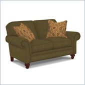 Broyhill Larissa Green Olive Loveseat with Cherry Wood Finish