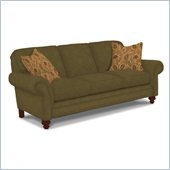 Broyhill Larissa Green Olive Queen Goodnight Sleeper Sofa with Cherry Wood Finish