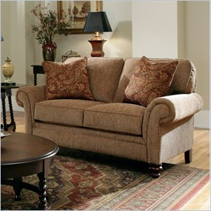 Broyhill Larissa Brown Two Seat Loveseat with Cherry Wood Finish