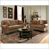 Broyhill Larissa 2 Piece Brown Sofa and Loveseat Set with Cherry Wood Finish