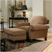 Broyhill Larissa 2 Piece Brown Chair and Ottoman Set with Cherry Wood  in Cherry
