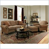 Broyhill Larissa 3 Piece Brown Sofa Set with Cherry Wood Finish
