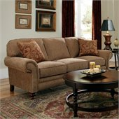 Broyhill Larissa Brown Queen Goodnight Sleeper Sofa with Cherry Wood Finish