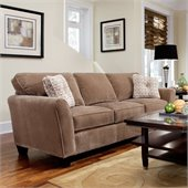 Broyhill Maddie Microfiber Mocha Sofa with Affinity Wood Finish