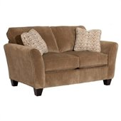 Broyhill Maddie Microfiber Mocha Loveseat with Affinity Wood Finish