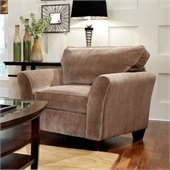 Broyhill Maddie Microfiber Mocha Chair with Affinity Wood Finish