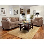Broyhill Maddie 2 Piece Microfiber Mocha Sofa & Chair Set with Affinity Wood Finish