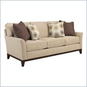 Broyhill Perspectives Three Seat Beige Sofa with Cognac Wood Finish