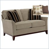 Broyhill Perspectives Two Seat Beige Loveseat with Cognac Wood Finish