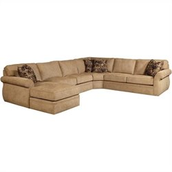 Broyhill Veronica Upholstered LAF Chaise Sectional Sofa in Beige Chenille