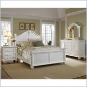 Broyhill Mirren Harbor 4 Pc King Poster Storage Bedroom Set in White