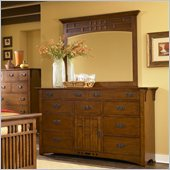 Broyhill Artisan Ridge Door Dresser with Mirror Set in Warm Nutmeg