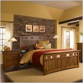 Broyhill Artisan Ridge Slat Bed 2 Piece Bedroom Set in Warm Nutmeg