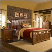 Broyhill Artisan Ridge Slat Bed 3 Piece Bedroom Set in Warm Nutmeg