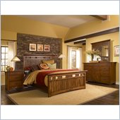 Broyhill Artisan Ridge Slat Bed 4 Piece Bedroom Set in Warm Nutmeg