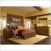 Broyhill Artisan Ridge Slat Bed 5 Piece Bedroom Set in Warm Nutmeg