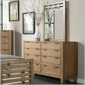 Broyhill Ember Grove 7 Drawer Dresser and Mirror Set in Weathered-Khaki