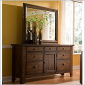Broyhill Attic Heirlooms Oak Stain 7 Drawer Door Dresser w/ Mirror
