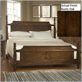 Broyhill Attic Heirlooms Vintage Low Post Bed in Rustic Oak Stain