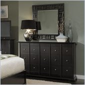 Broyhill Perspectives 9 Drawer Dresser and Lattice Mirror Set in Graphite