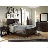 Broyhill Primo Vista Panel Bed 5 Piece Bedroom Set in Black Stain