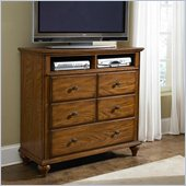 Broyhill Hayden Place 3 Drawer Media Chest in Warm Golden Oak