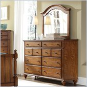 Broyhill Hayden Place 8 Drawer Dresser and Landscape Mirror Set in Oak