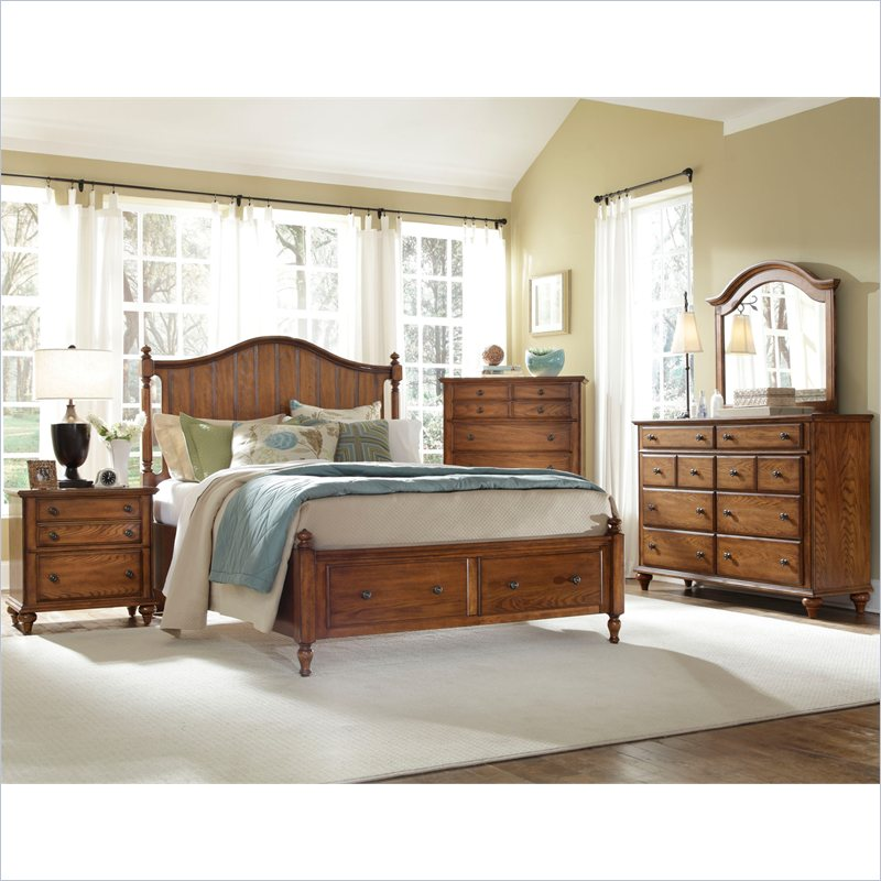 Hayden place panel storage bed 5 piece bedroom set in oak 4645 5pc panelstoragebed set Broyhill master bedroom sets