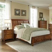 Broyhill Hayden Place Panel Storage Bed in Warm Golden Oak