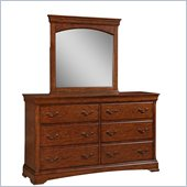 Broyhill Rhone Manor 6 Drawer Dresser with Mirror Set in Toffee