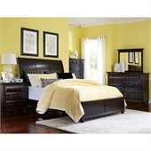 Broyhill Farnsworth Sleigh Bed 5 Piece Bedroom Set in Inky Black Stain