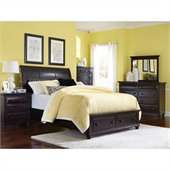 Broyhill Farnsworth Storage Sleigh Bed 5 Pc Bedroom Set in Inky Black