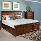 Broyhill Abbott Bay Panel Bed with Storage in Warm Russet Brown