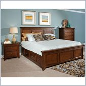 Broyhill Abbott Bay Panel Bed 3 Pc Bedroom Set in Warm Russet Brown