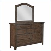 Broyhill Attic Retreat 9 Drawer Dresser and Mirror Set in Weathered-Mink