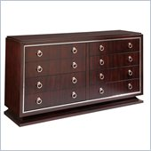 Broyhill Pinstripe 8 Drawer Double Dresser in Dark Mahogany
