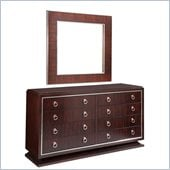 Broyhill Pinstripe 8 Drawer Double Dresser and Mirror Set in Dark Mahogany