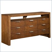 Broyhill Suede 9 Drawer Dresser in Medium Brown