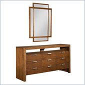 Broyhill Suede 9 Drawer Dresser with Mirror Set in Medium Brown