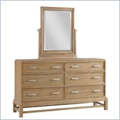 Broyhill Hampton 6 Drawer Dresser with Tilt Mirror Set in Light Mocha